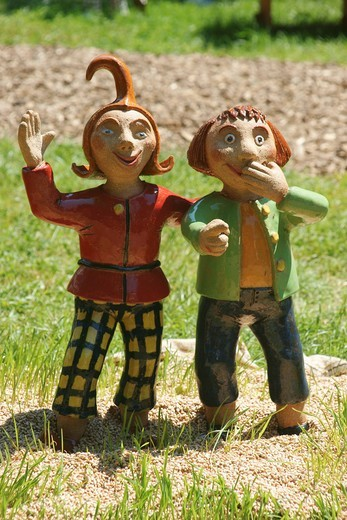 Max and Moritz sculptures, characters of a German story in verse : Stock Photo
