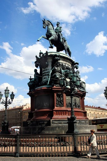 Memorial to Nicholas I, St. Petersburg, Russia, Europe : Stock Photo