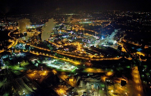 Aerial view, Thyssen Krupp works at night, Duisburg, Ruhr area, North Rhine_Westphalia, Germany, Europe : Stock Photo