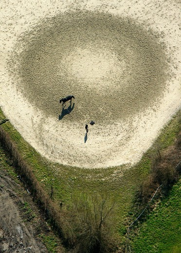 Aerial view, equestrian facility, vaulting, Kamen, Ruhrgebiet region, North Rhine_Westphalia, Germany, Europe : Stock Photo