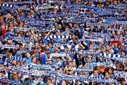 Last home match of the season of FC Schalke 04 against Werder Bremen 0:2, Veltins Arena, formerly Arena AufSchalke, home stadium of FC Schalke 04, Gelsenkirchen, North Rhine_Westphalia, Germany, Europe : Stock Photo