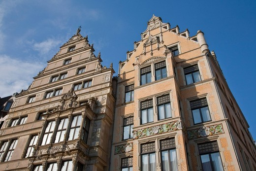 Leibnizhaus building left, Renaissance mansion from 1499, Leibniz, Hannover, Lower Saxony, Germany, Europe : Stock Photo