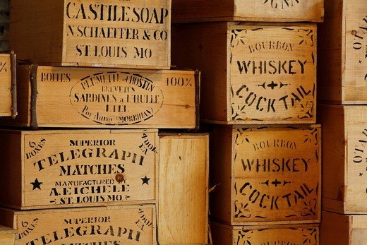 Whiskey boxes, historic Columbia State Park, California, USA : Stock Photo