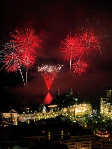 Fireworks over the Casino Monte_Carlo, Principality of Monaco, Côte d´Azur, Mediterranean, Europe : Stock Photo