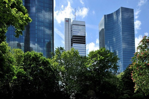 Stock Photo: 1848-487516 Dresdner Bank headquarters called Gallileo, DB Tower, Skyper building, Taunusanlage park, Financial District, Frankfurt am Main, Hesse, Germany, Europe
