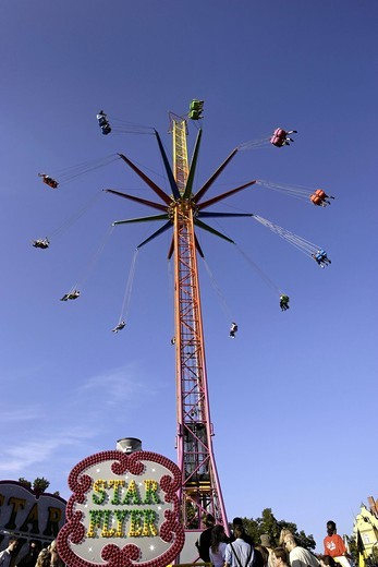 Funfair ride STAR FLYER, Oktoberfest, Munich, Upper Bavaria, Germany, Europe : Stock Photo