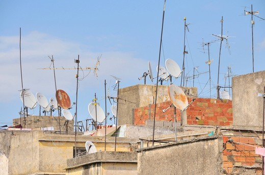 Stock Photo: 1848-487563 Houses with satellite dishes, old town, Medina of Fez, Morocco, Africa