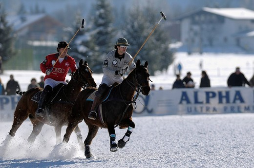 Polo players fighting for the ball, Matias Maiquez of Team Drettmann Group, chased by Marty van Scherpenzeel of Team Audi, Snow Arena Polo World Cup 2010 polo tournament, Kitzbuehel, Tyrol, Austria, Europe : Stock Photo