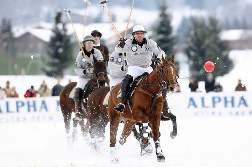 Polo players chasing the ball, Team Drettmann Group against Team Nespresso, Snow Arena Polo World Cup 2010 polo tournament, Kitzbuehel, Tyrol, Austria, Europe : Stock Photo