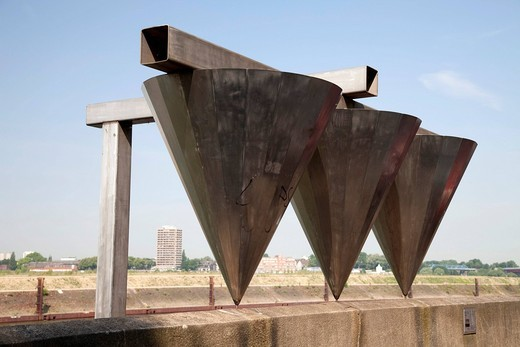 Filter, sculpture, inland port, Ruhrort district, Duisburg, Ruhrgebiet area, North Rhine_Westphalia, Germany, Europe : Stock Photo