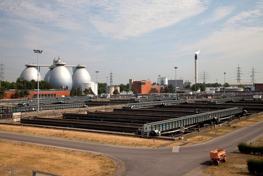 Digestion tanks, sewage work, Emscher wastewater treatment plant, Bottrop, Ruhr area, North Rhine_Westphalia, Germany, Europe : Stock Photo