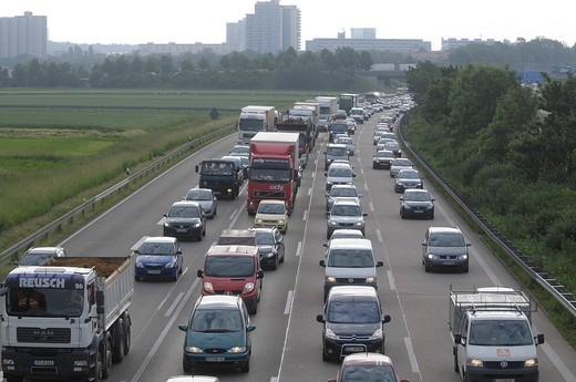 Stock Photo: 1848-488763 Traffic jam caused by a truck accident on the A8 motorway near Stuttgart, Baden_Wuerttemberg, Germany, Europe