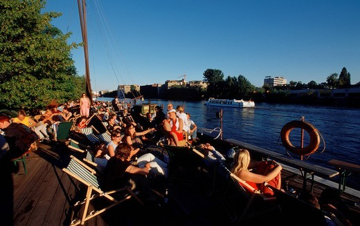 Stock Photo: 1848-488864 East Beach with Spree river, beach location, beach bar on the East Side Gallery in Friedrichshain district, Berlin, Germany, Europe