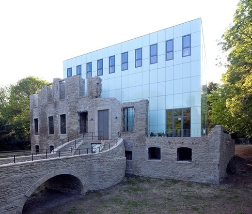 Stock Photo: 1848-489096 Haus Weitmar and new museum building, Situation Kunst art exhibition, castle ruins, Bochum, Ruhrgebiet region, North Rhine_Westphalia, Germany, Europe