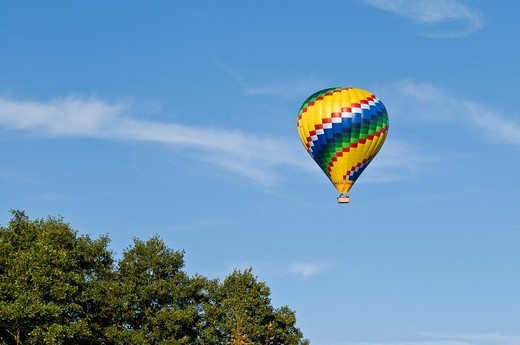 Multi_coloured balloon, blue sky, sightseeing flight, Bavaria, Germany, Europe : Stock Photo