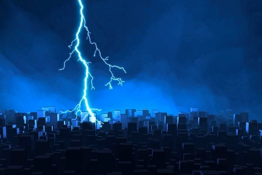 Abstract skyline with thunderstorm, 3D illustration : Stock Photo