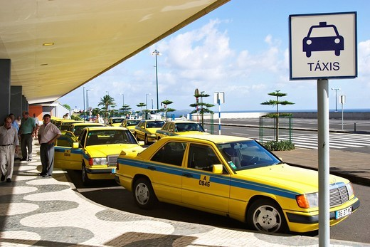 Waiting taxis at airport Funchal on Madeira : Stock Photo