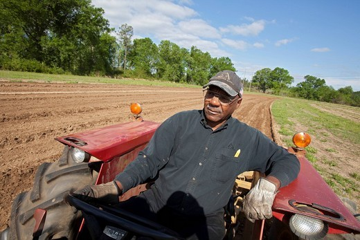 Carey Travis plows land on his organic farm, he is a member of the Indian Springs Farmers Association, a marketing cooperative of African_American family farmers, Hattiesburg, Mississippi, USA : Stock Photo