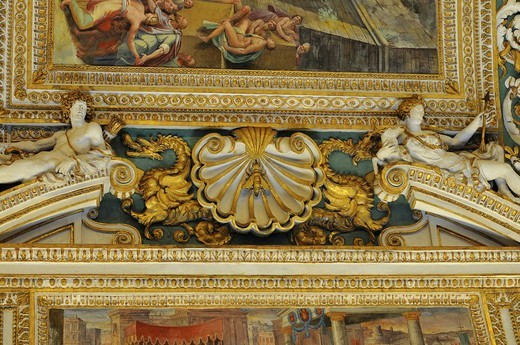 Ceiling, Gallery of Maps, Vatican Museums, historic city centre, Vatican City, Italy, Europe : Stock Photo