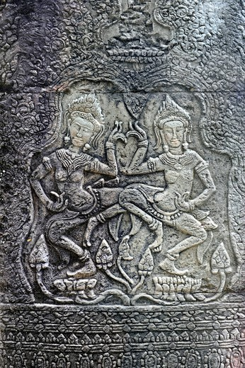 Stock Photo: 1848-491231 Relief with Apsara dancers, Banteay Kdei temple complex, Angkor, UNESCO World Heritage Site, Siem Reap, Cambodia, Southeast Asia, Asia