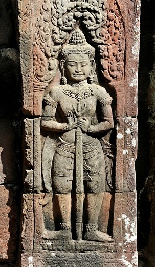Stock Photo: 1848-491233 Relief, Dvarapala, guard figure, the temple complex of Banteay Kdei, Angkor, UNESCO World Heritage Site, Siem Reap, Cambodia, Southeast Asia, Asia