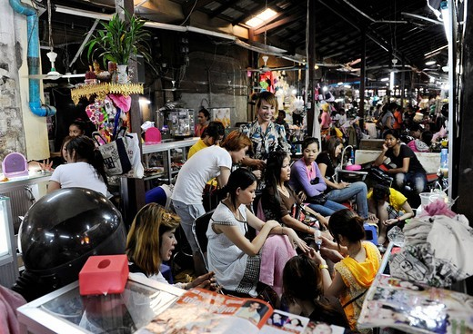 Stock Photo: 1848-491321 Hairdresser, manicure, market scene, Old Market, Psar Chas, Siem Reap, Cambodia, Southeast Asia, Asia