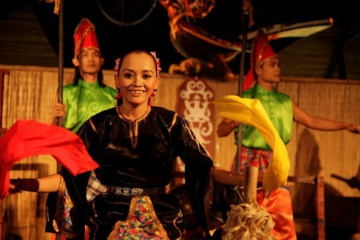 Dancer in the Sarawak Cultural Village near Kuching, Sarawak, Borneo, Malaysia, Southeast Asia : Stock Photo