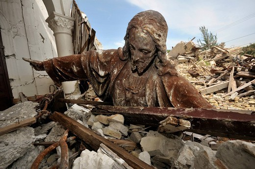 Stock Photo: 1848-491584 Statue of Jesus Christ toppled from the roof in the rubble of the church Sacre Coeur destroyed in an earthquake, Turgeau district, Port_au_Prince, Haiti, Caribbean, Central America