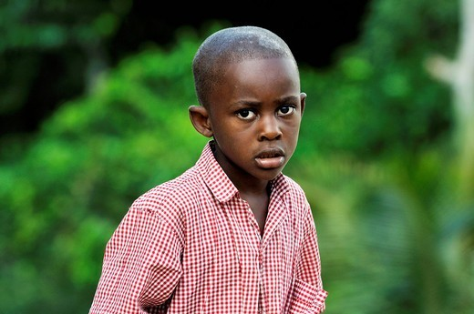 Portrait of a boy, village Coq Chante near Jacmel, Haiti, Caribbean, Central America : Stock Photo