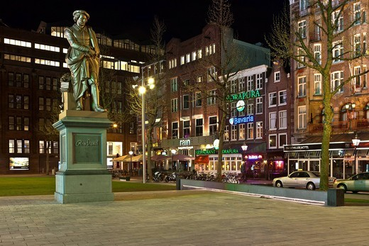 Stock Photo: 1848-491689 Monument to the painter Rembrandt, Rembrandtplein, Amsterdam, Holland, Netherlands, Europe