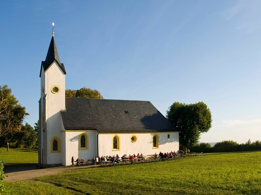 Stock Photo: 1848-491833 Adelgundiskapelle chapel on Mt. Staffelberg, Oberes Maintal area, Franconia, Bavaria, Germany, Europe