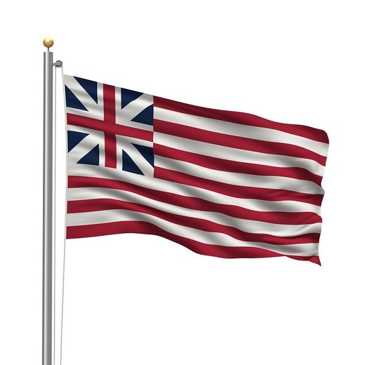 Grand Union flag, with flag pole, waving in the wind : Stock Photo