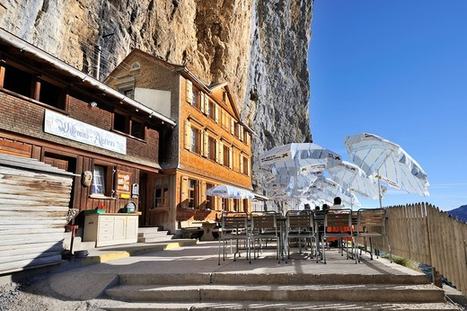 The Aescher mountain restaurant near the Wildkirchli caves below the Ebenalp cliff, Canton Appenzell Inner Rhodes, Switzerland, Europe : Stock Photo