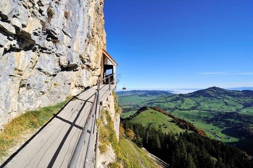 Stock Photo: 1848-492124 Safe trail path along the cliff of the Ebenalp between the Wildkirchli caves and Aescher mountain restaurant, Canton Appenzell_Innerrhoden, Switzerland, Europe