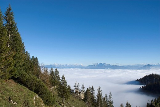 Stock Photo: 1848-492442 Kampenwand hiking area, view of the fog_shrouded Alps, Chiemgau, Upper Bavaria, Germany, Europe
