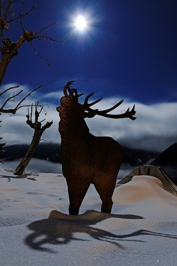Roaring stag at full moon standing outside the Meisser Hotel, Guarda, Engadin, Grisons, Switzerland, Europe : Stock Photo