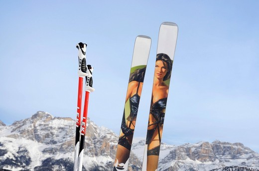Skis with picture of sexy woman printed on the running surface, Alta Badia, South Tyrol, Italy, Europe : Stock Photo