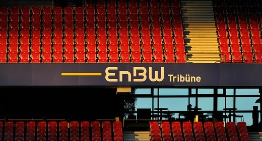 Empty rows of stadium seating, EnBW Tribuene, Mercedes_Benz Arena, Stuttgart, Baden_Wuerttemberg, Germany, Europe : Stock Photo