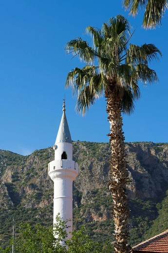 Minaret of Kas, south coast of Turkey, Western Asia : Stock Photo