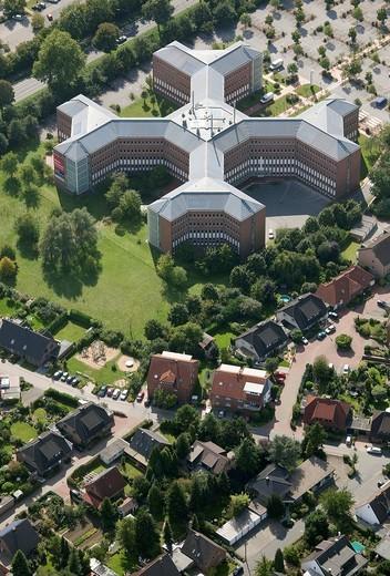 Aerial view, cross_shaped office building, Haskel Hochdrucksysteme high pressure systems GmbH, Wesel, Ruhrgebiet region, Niederrhein, North Rhine_Westphalia, Germany, Europe : Stock Photo