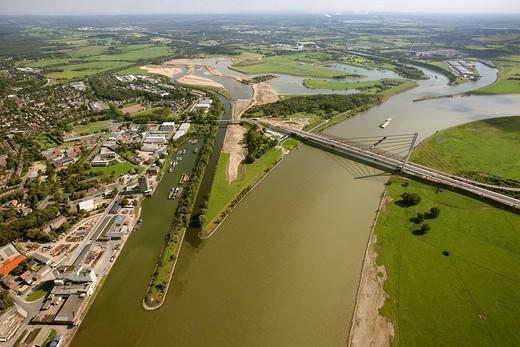 Aerial view, Lippe river, estuary, renovation, river bend, Port Wesel, Rhine river and bridge, Ruhrgebiet region, Niederrhein, North Rhine_Westphalia, Germany, Europe : Stock Photo