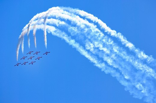 Stock Photo: 1848-493057 The Canadian Forces Snowbirds aerobatic team, Canadian International Air Show, Toronto, Ontario, Canada