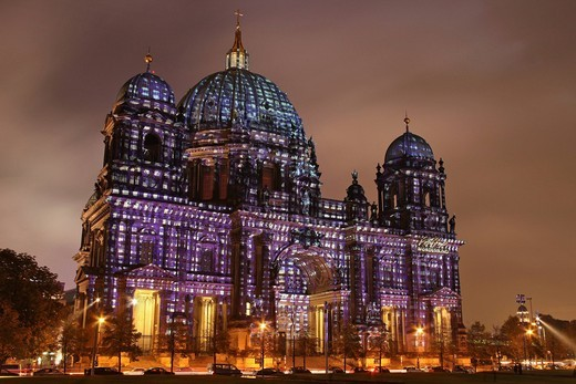 Stock Photo: 1848-493258 Berliner Dom cathedral, Museumsinsel island, UNESCO World Heritage Site, Festival of Lights 2010, Berlin, Germany, Europe