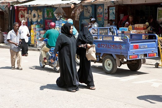 Market in the Benjamin Mkapa Rd in Stonetown, Stone Town, Zanzibar, Tanzania, Africa : Stock Photo