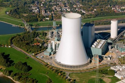Aerial view, EVONIK STEAG power plant Walsum_Duisburg, Duisburg, Ruhrgebiet region, North Rhine_Westphalia, Germany, Europe : Stock Photo