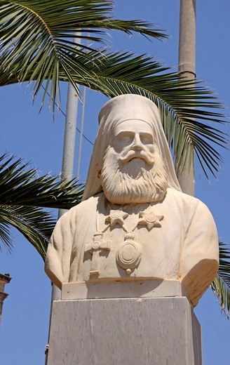 Bishop statue in front of the Agios Minas church, Heraklion or Iraklion, Crete, Greece, Europe : Stock Photo