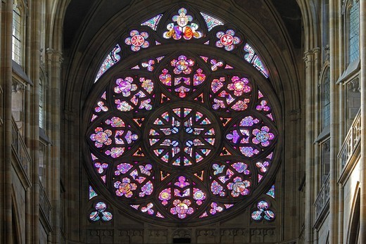 Rose window, the Creation of the World, Saint Vitus´ Cathedral, Prague Castle, Hradcany, Prague, Czech Republic, Europe : Stock Photo