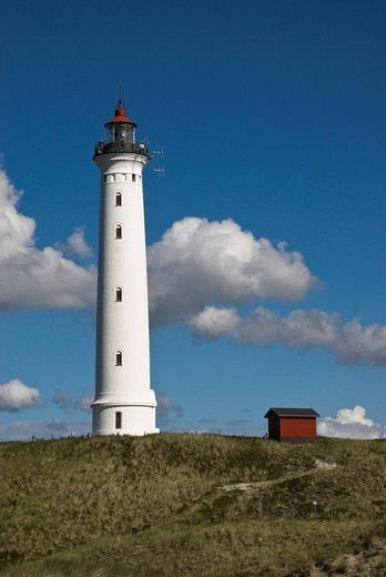 Lighthouse in Nørre Lyngvig, Hvide Sande, Jutland, Denmark, Europe : Stock Photo