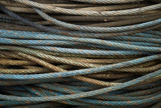 Stock Photo: 1848-494554 Blue and brown ropes in the fishing port of Hvide Sande, Jutland, Denmark, Europe