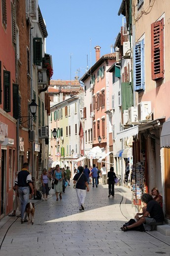 Pedestrian area with shops, old town, Rovinj, Croatia, Europe : Stock Photo